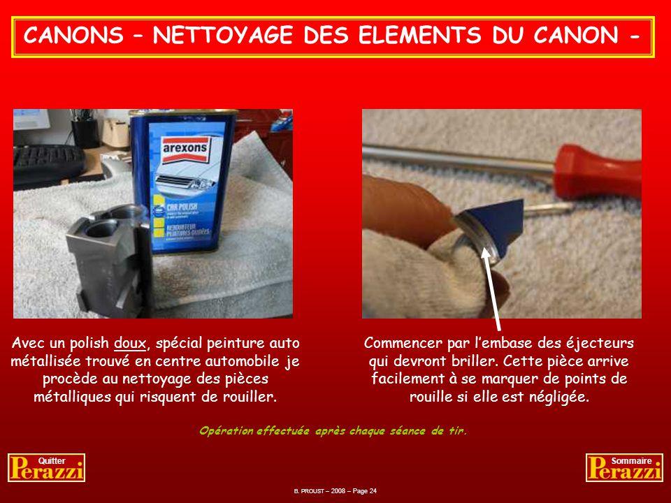 CANONS – NETTOYAGE DES ELEMENTS DU CANON -