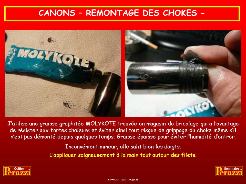 CANONS – REMONTAGE DES CHOKES -