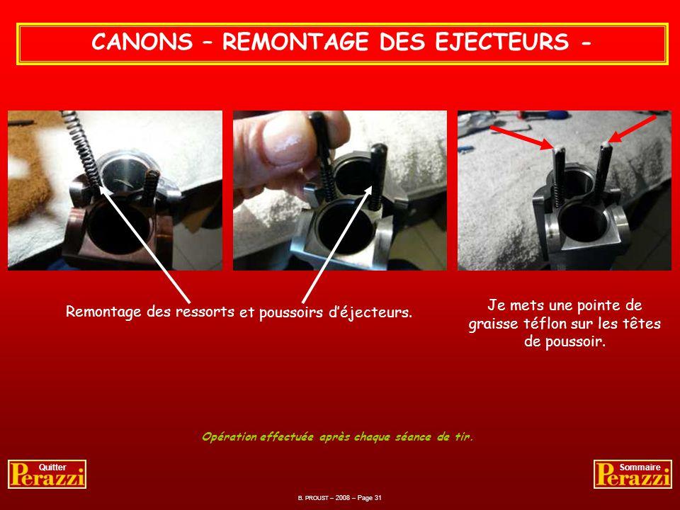 CANONS – REMONTAGE DES EJECTEURS -