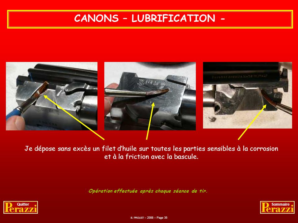 CANONS – LUBRIFICATION -