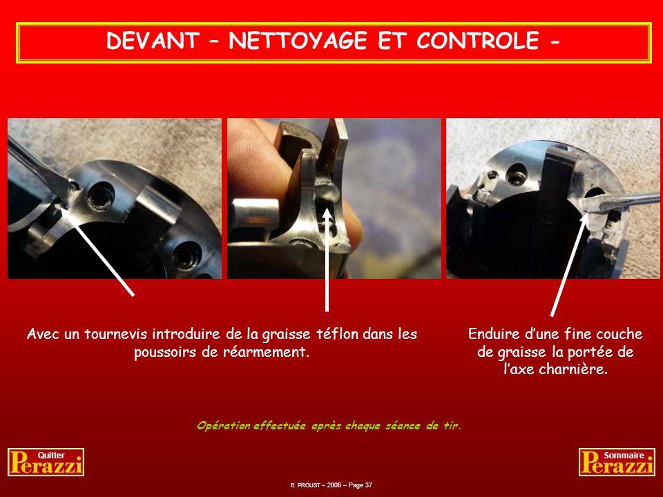 DEVANT – NETTOYAGE ET CONTROLE -