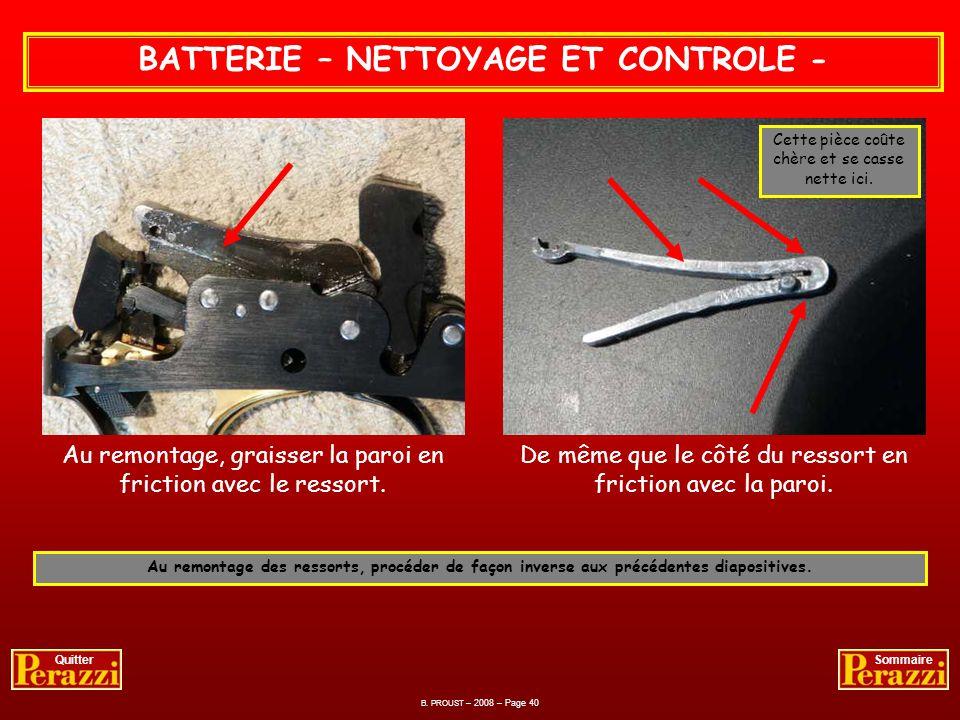 BATTERIE – NETTOYAGE ET CONTROLE -