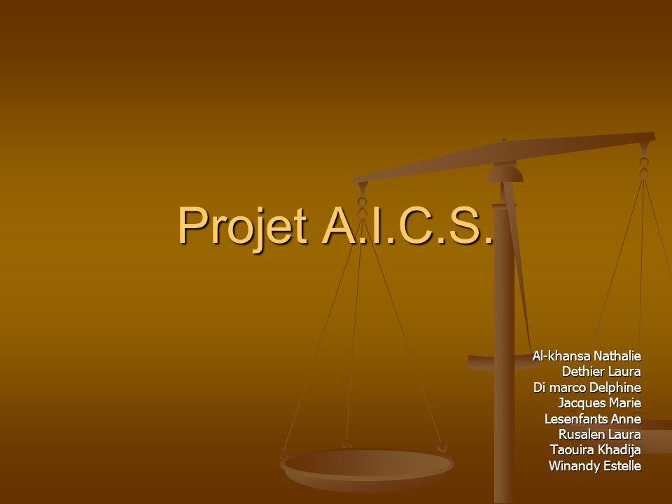 Projet A.I.C.S. Al-khansa Nathalie Dethier Laura Di marco Delphine