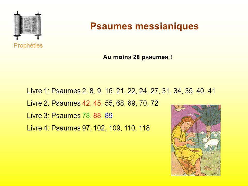 ProphétiesPsaumes messianiques. Au moins 28 psaumes ! Livre 1: Psaumes 2, 8, 9, 16, 21, 22, 24, 27, 31, 34, 35, 40, 41.
