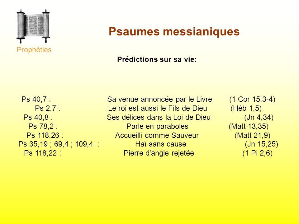 Psaumes messianiques Prophéties Prédictions sur sa vie: