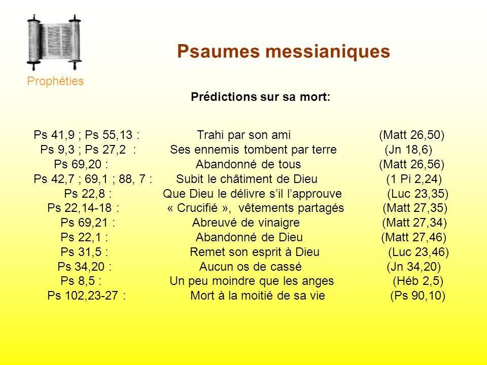 Psaumes messianiques Prophéties Prédictions sur sa mort: