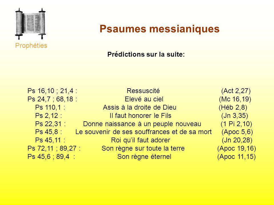 Psaumes messianiques Prophéties Prédictions sur la suite: