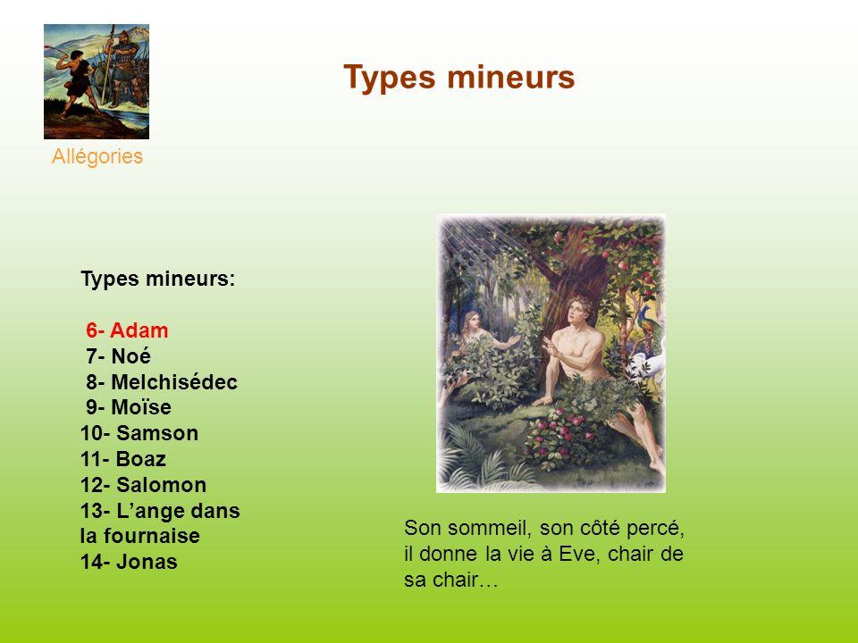 Types mineurs Allégories Types mineurs: 6- Adam 7- Noé 8- Melchisédec