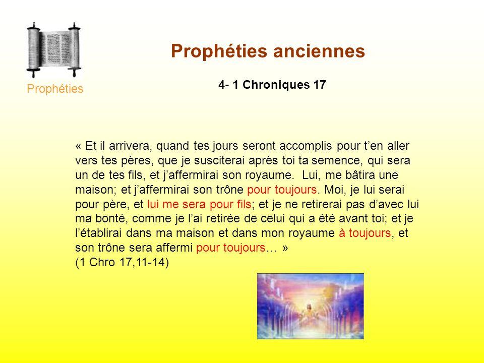 Prophéties anciennes 4- 1 Chroniques 17 Prophéties