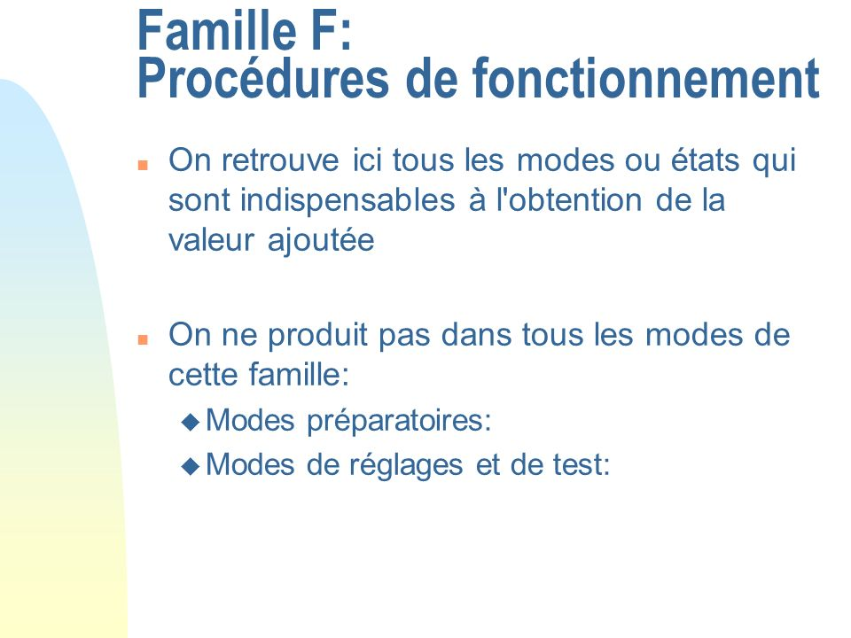 Famille F: Procédures de fonctionnement