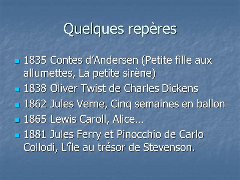Quelques repères1835 Contes d'Andersen (Petite fille aux allumettes, La petite sirène) 1838 Oliver Twist de Charles Dickens.