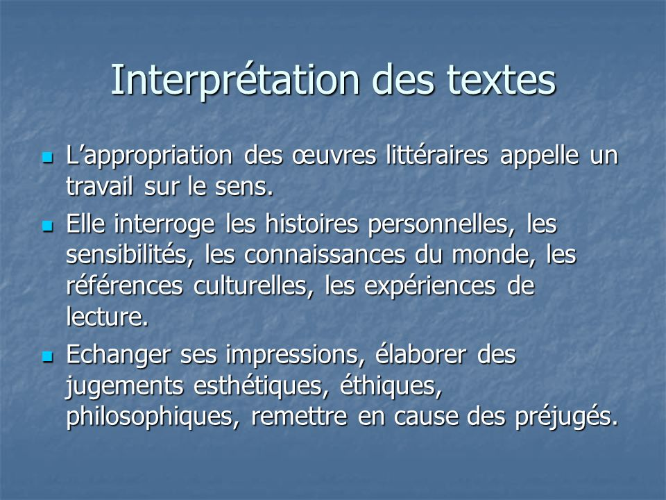 Interprétation des textes