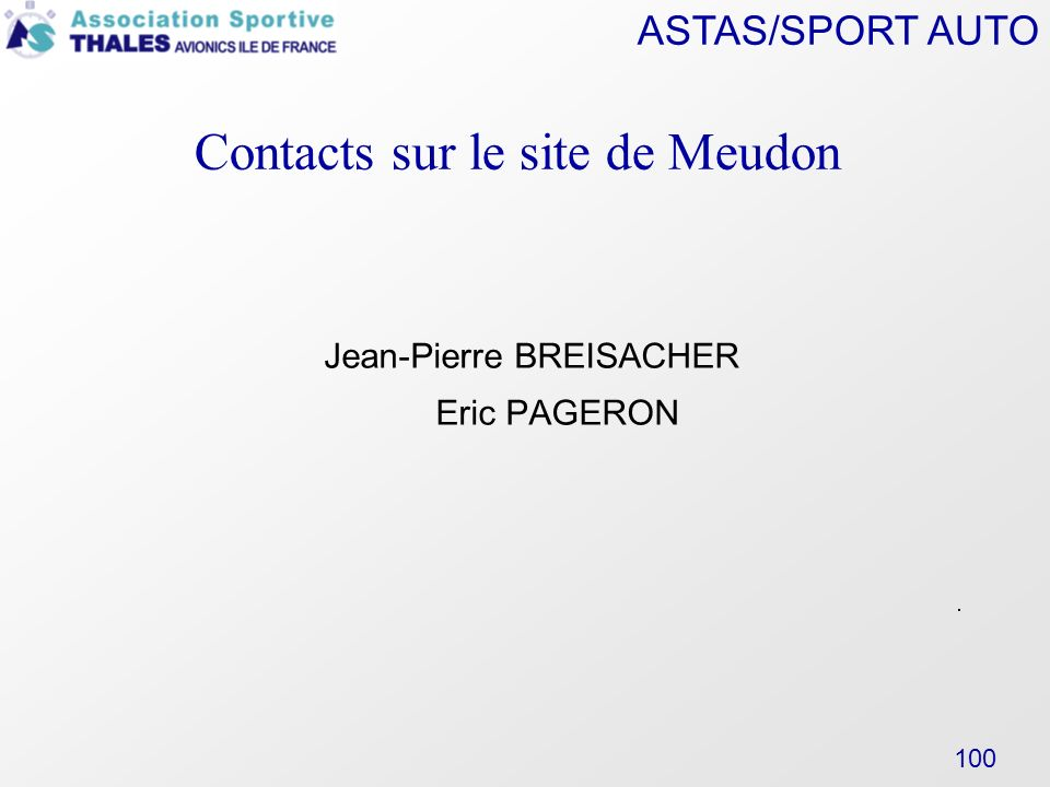 Contacts sur le site de Meudon ‏