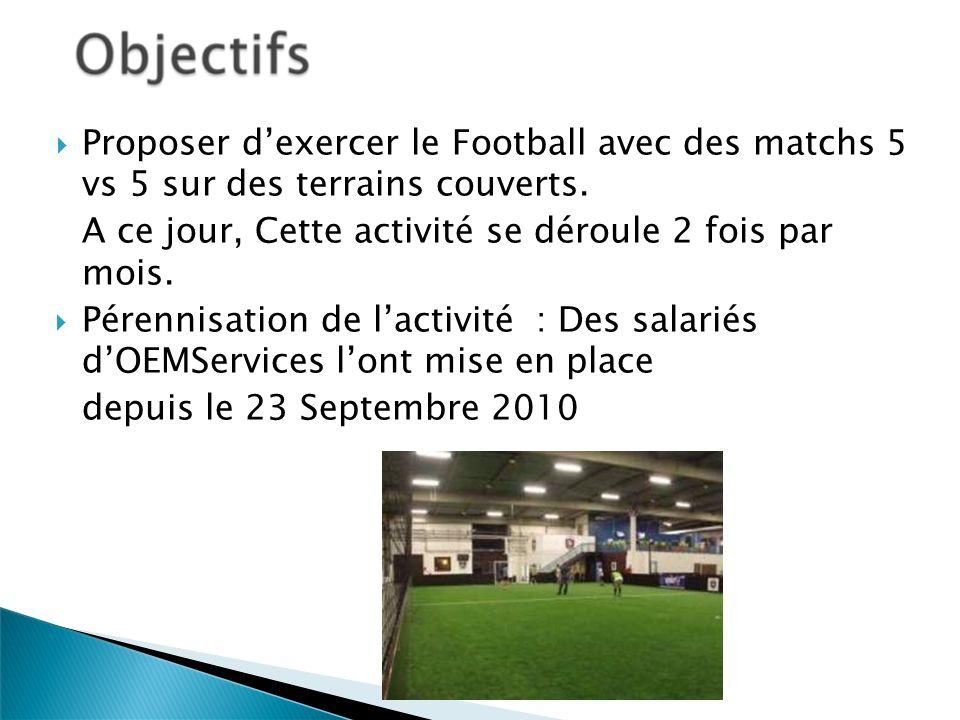 Proposer d'exercer le Football avec des matchs 5 vs 5 sur des terrains couverts.