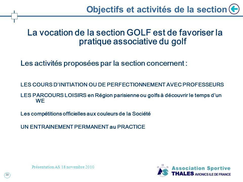 Objectifs et activités de la section