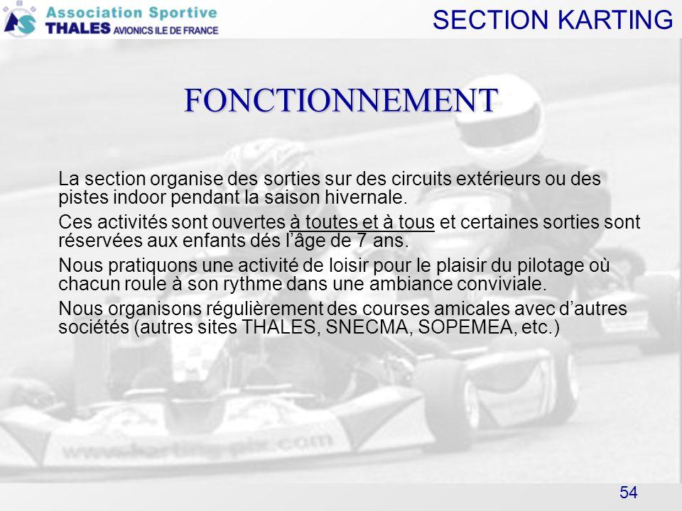 FONCTIONNEMENT La section organise des sorties sur des circuits extérieurs ou des pistes indoor pendant la saison hivernale.