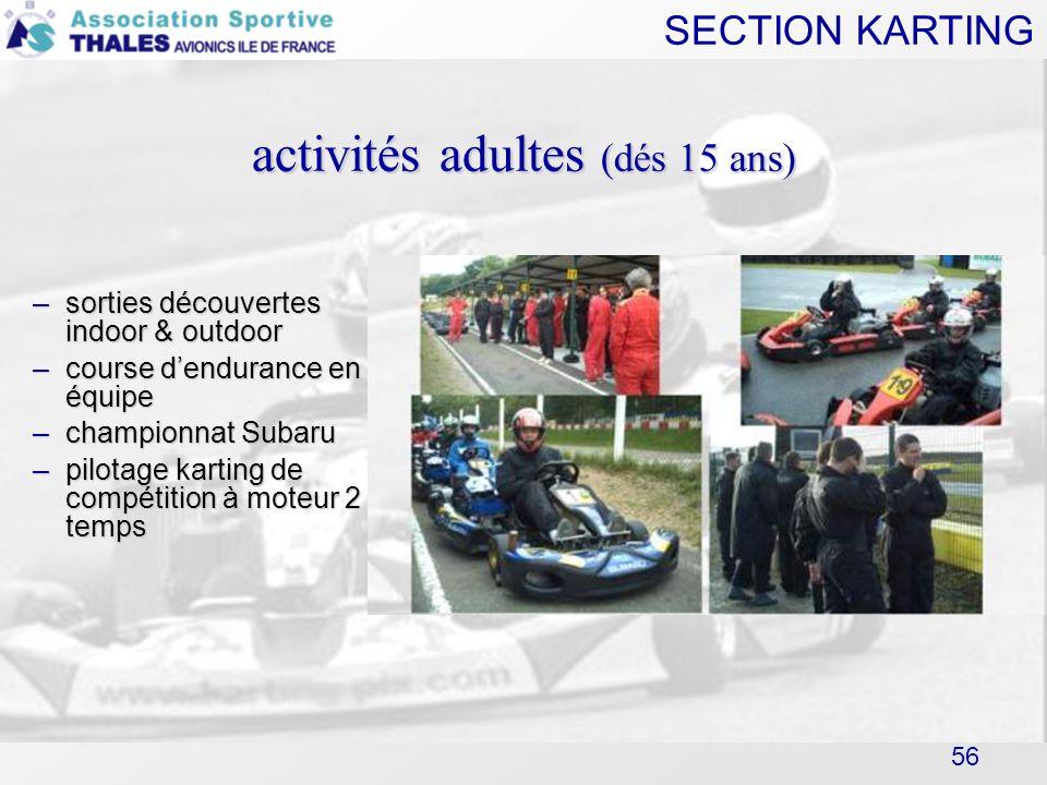activités adultes (dés 15 ans)