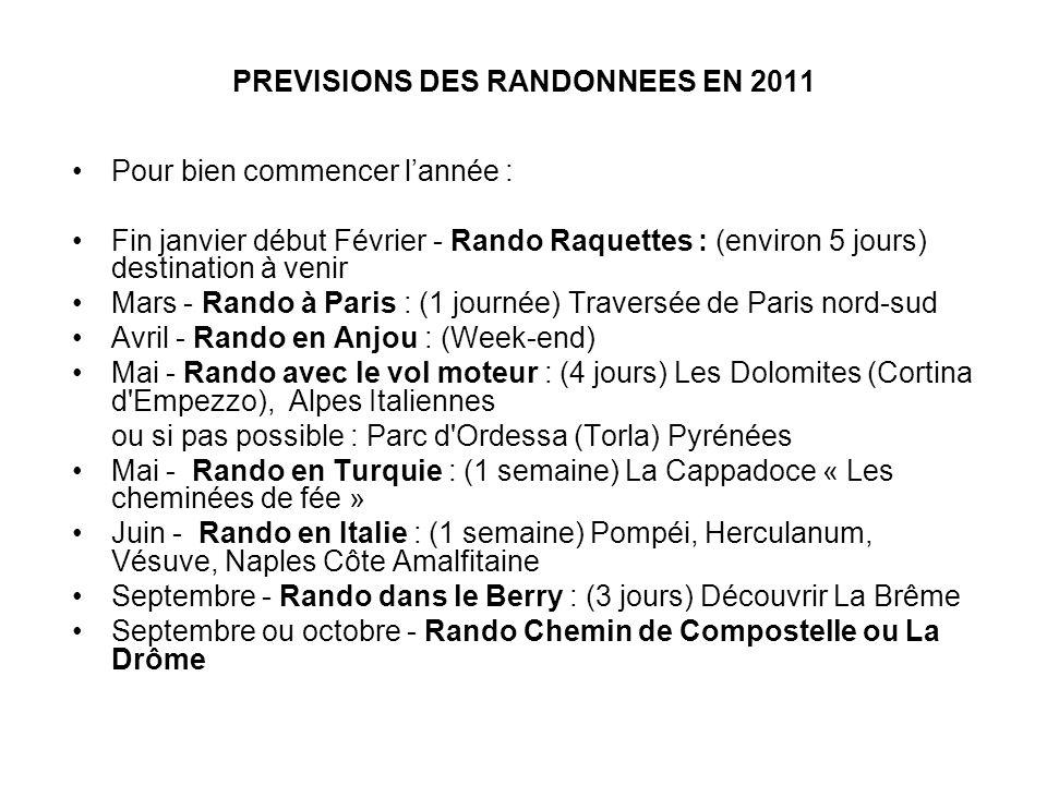 PREVISIONS DES RANDONNEES EN 2011