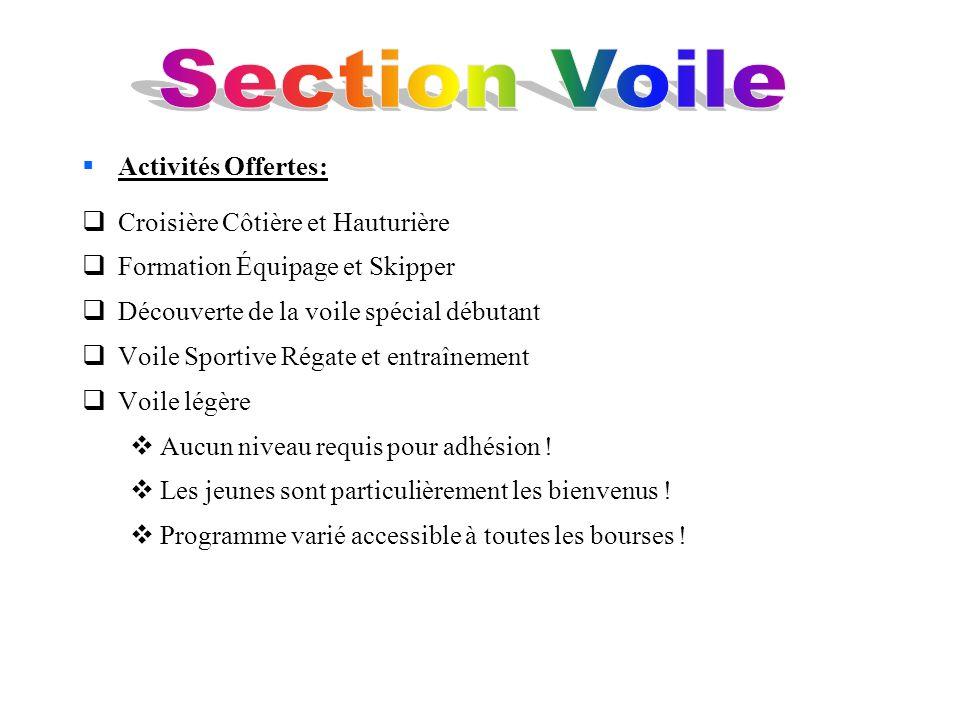 Section Voile Activités Offertes: Croisière Côtière et Hauturière
