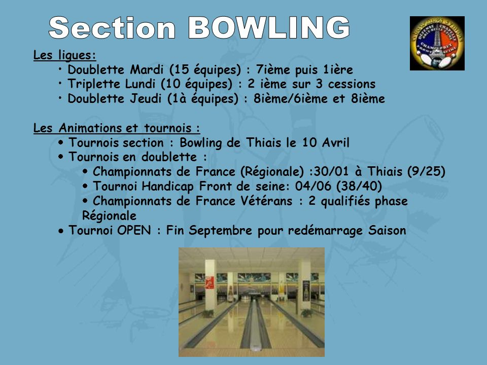 Section BOWLING Les ligues: