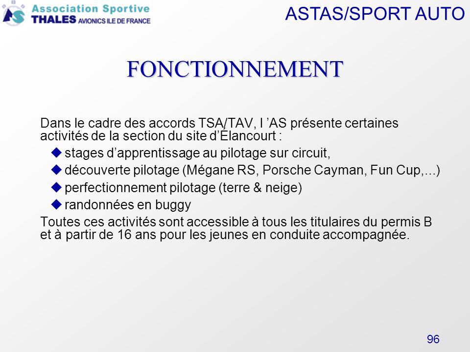 FONCTIONNEMENT Dans le cadre des accords TSA/TAV, l 'AS présente certaines activités de la section du site d'Élancourt :