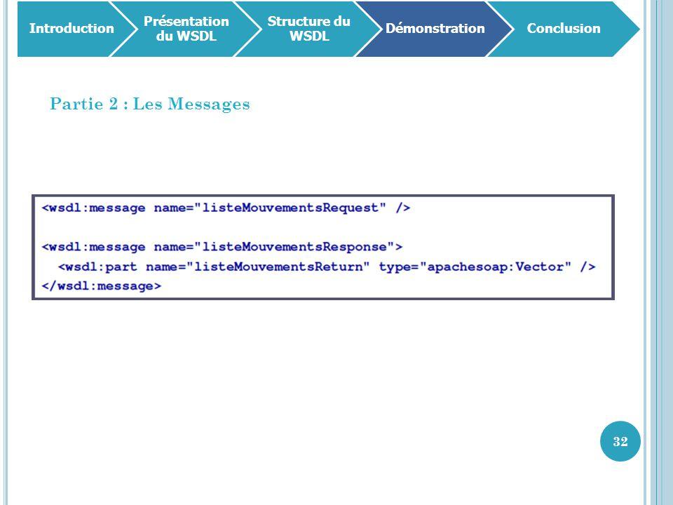 Partie 2 : Les Messages Introduction Présentation du WSDL