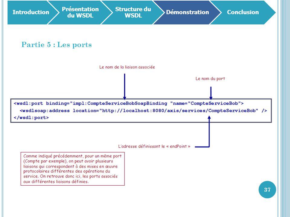 Partie 5 : Les ports Introduction Présentation du WSDL