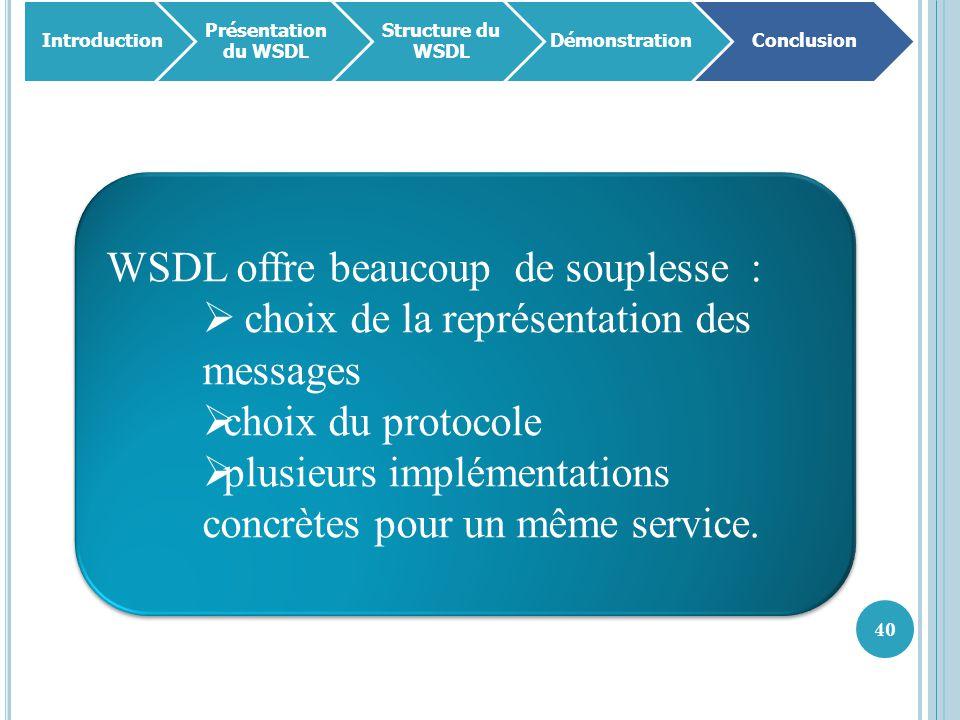 WSDL offre beaucoup de souplesse :