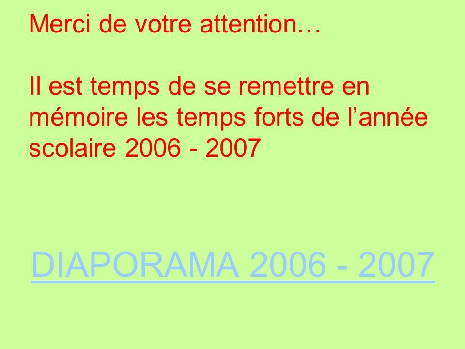 Merci de votre attention… Il est temps de se remettre en mémoire les temps forts de l'année scolaire 2006 - 2007