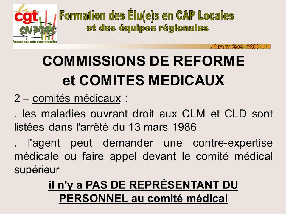 COMMISSIONS DE REFORME et COMITES MEDICAUX