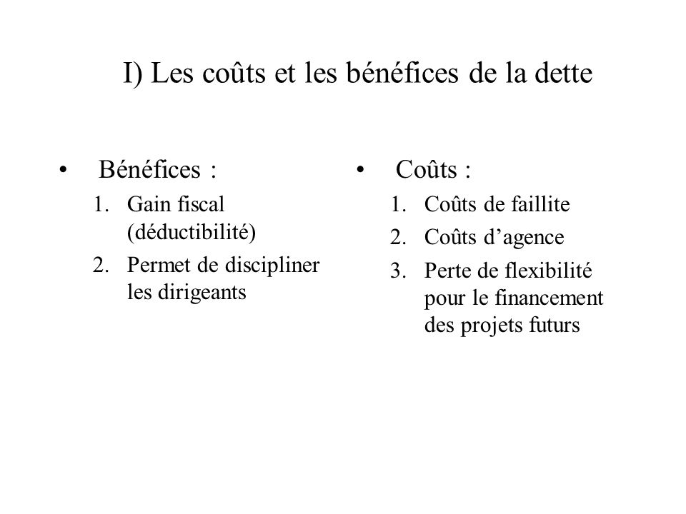 I) Les coûts et les bénéfices de la dette
