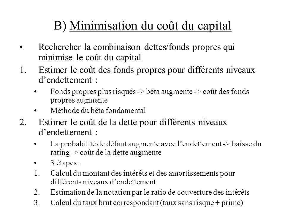 B) Minimisation du coût du capital