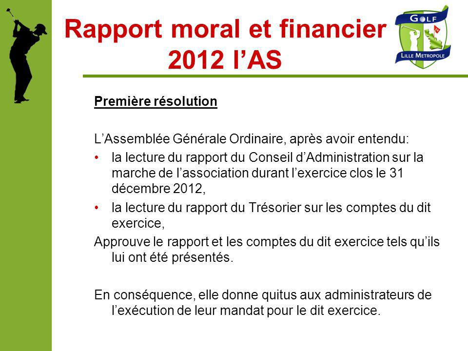 Rapport moral et financier 2012 l'AS