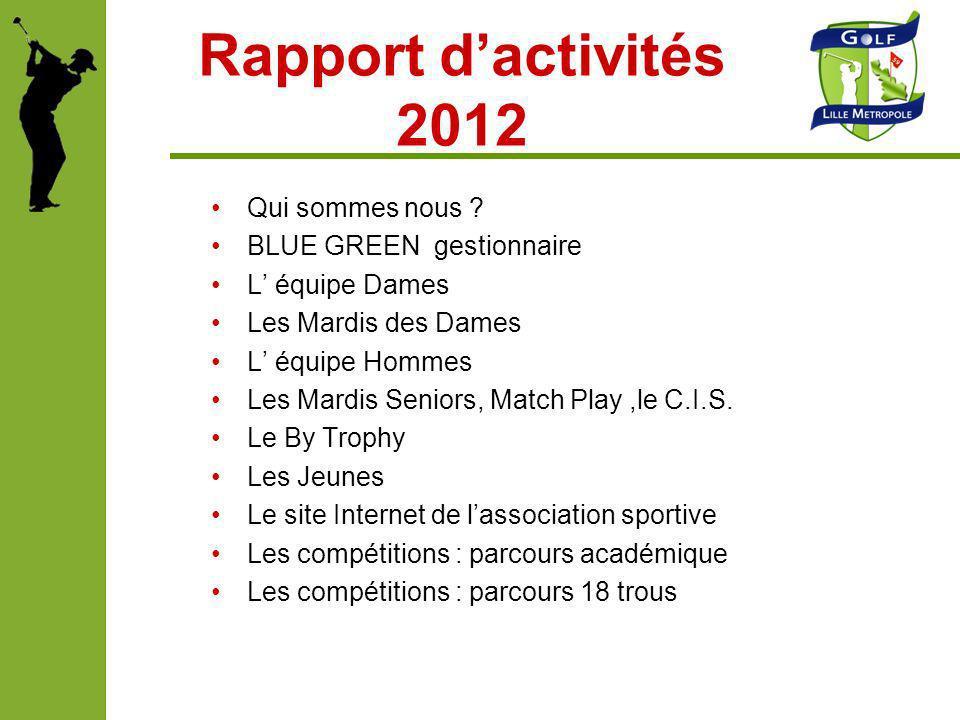Rapport d'activités 2012 Qui sommes nous BLUE GREEN gestionnaire