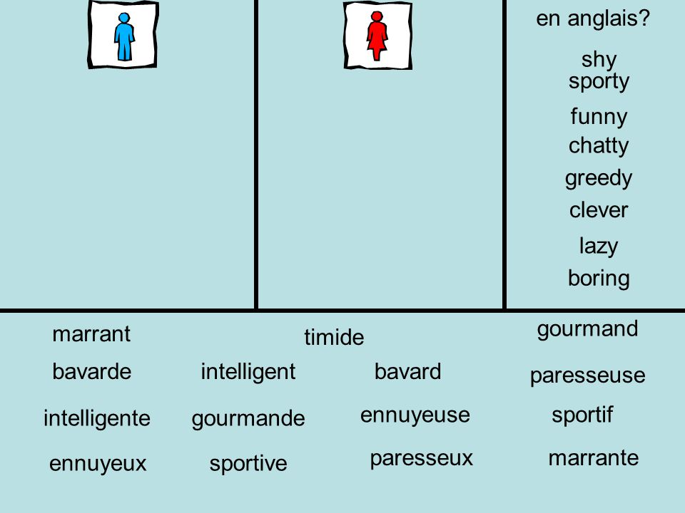 en anglais shy. sporty. funny. chatty. greedy. clever. lazy. boring. gourmand. marrant. timide.