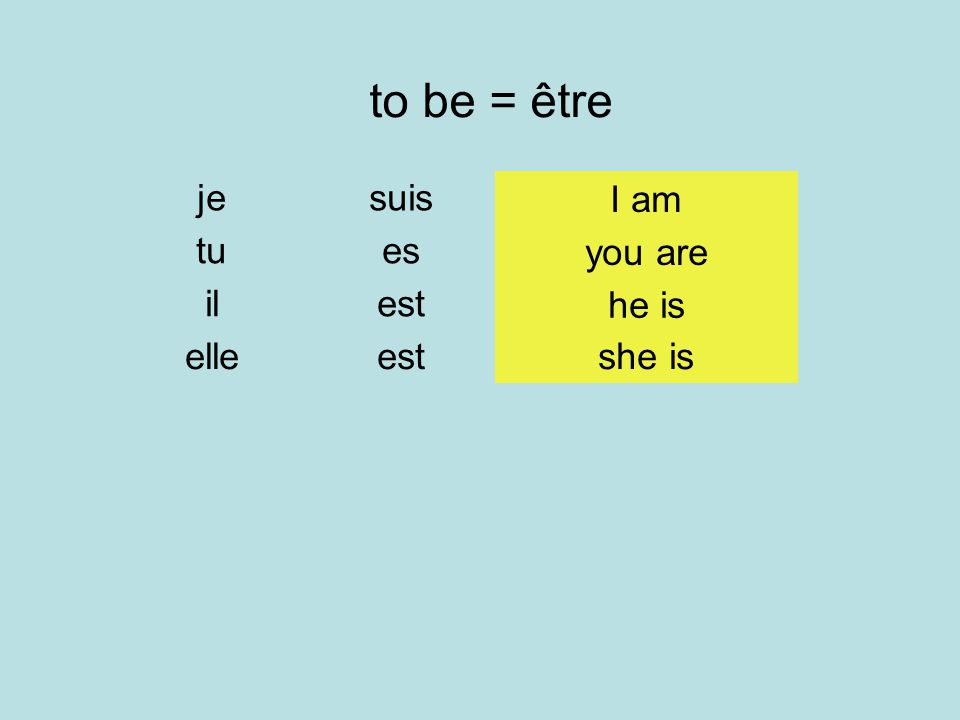 to be = être je suis I am tu es you are il est he is elle est she is