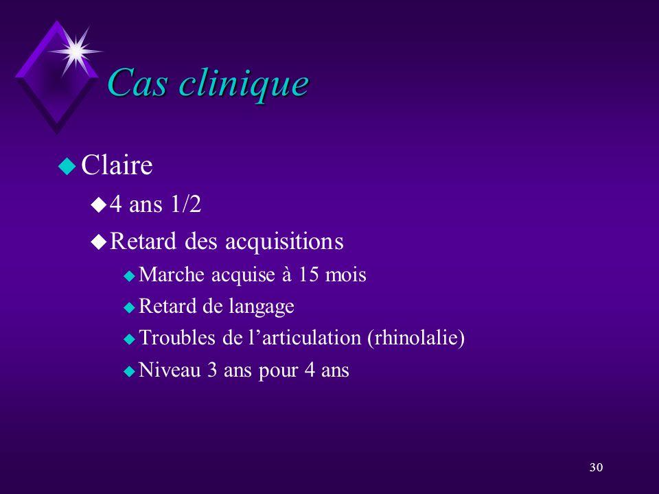 Cas clinique Claire 4 ans 1/2 Retard des acquisitions