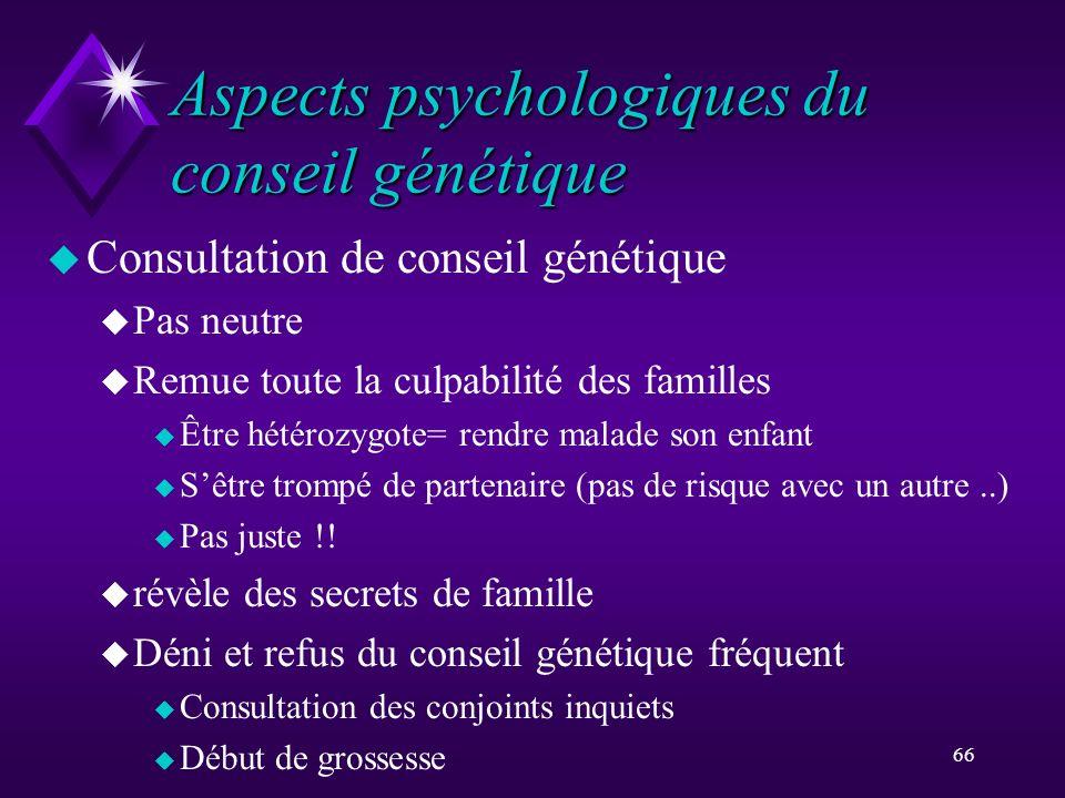 Aspects psychologiques du conseil génétique