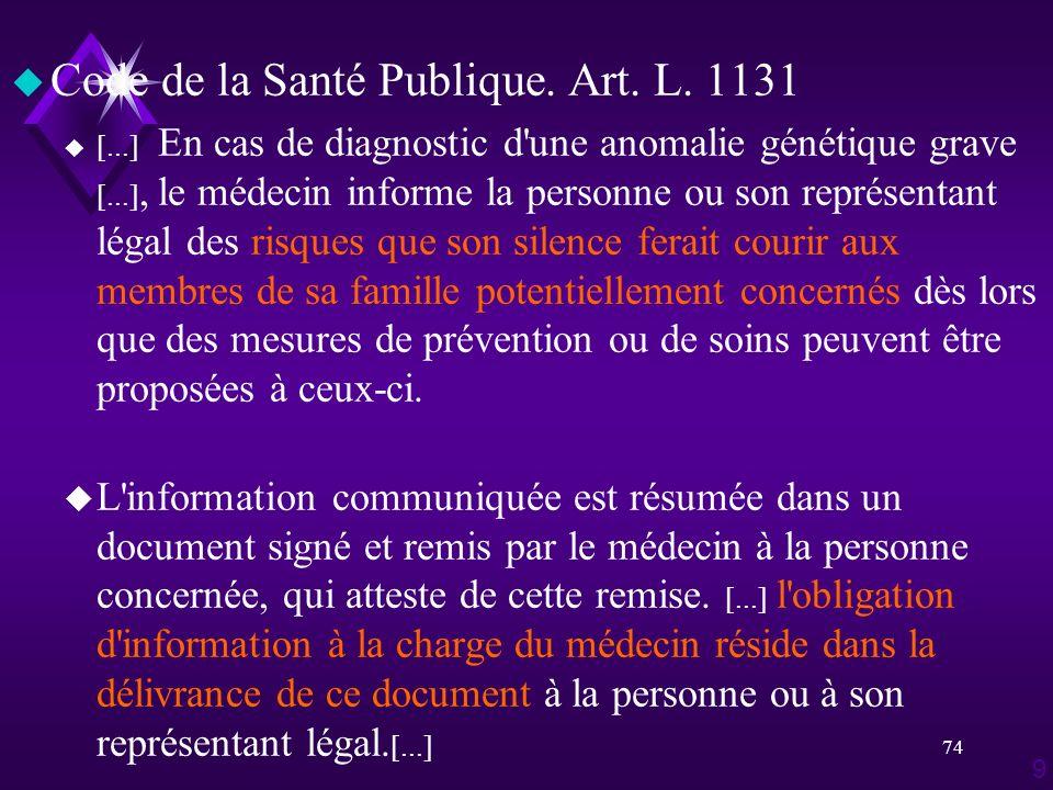 Code de la Santé Publique. Art. L. 1131
