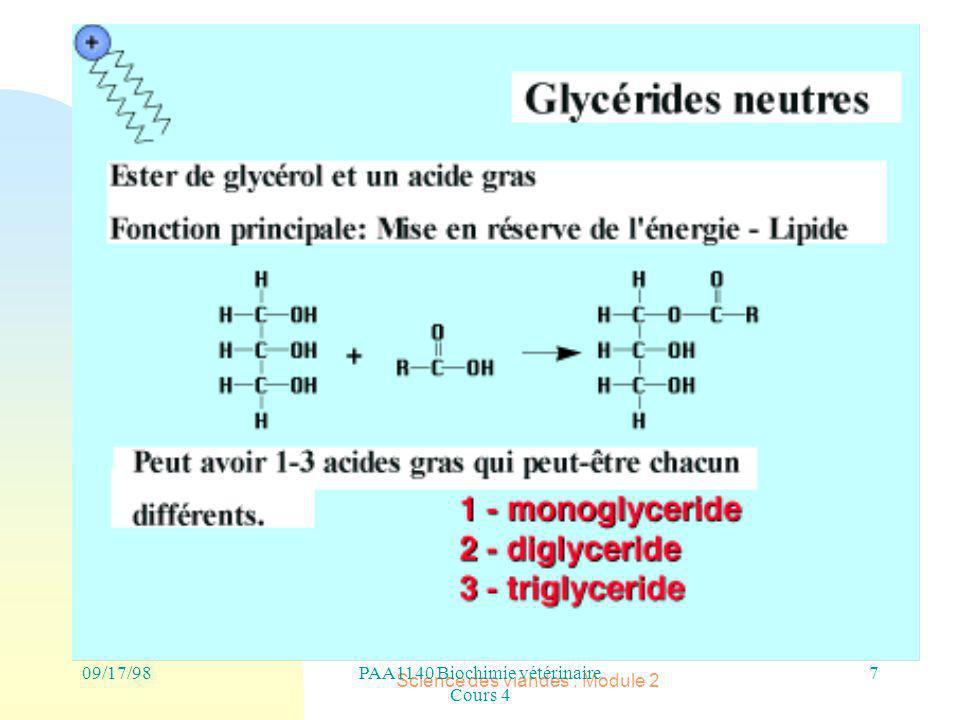PAA1140 Biochimie vétérinaire Cours 4 Science des viandes : Module 2 7