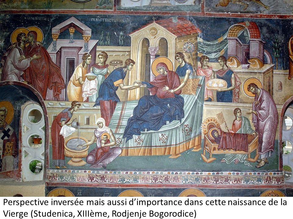 Perspective inversée mais aussi d'importance dans cette naissance de la Vierge (Studenica, XIIIème, Rodjenje Bogorodice)