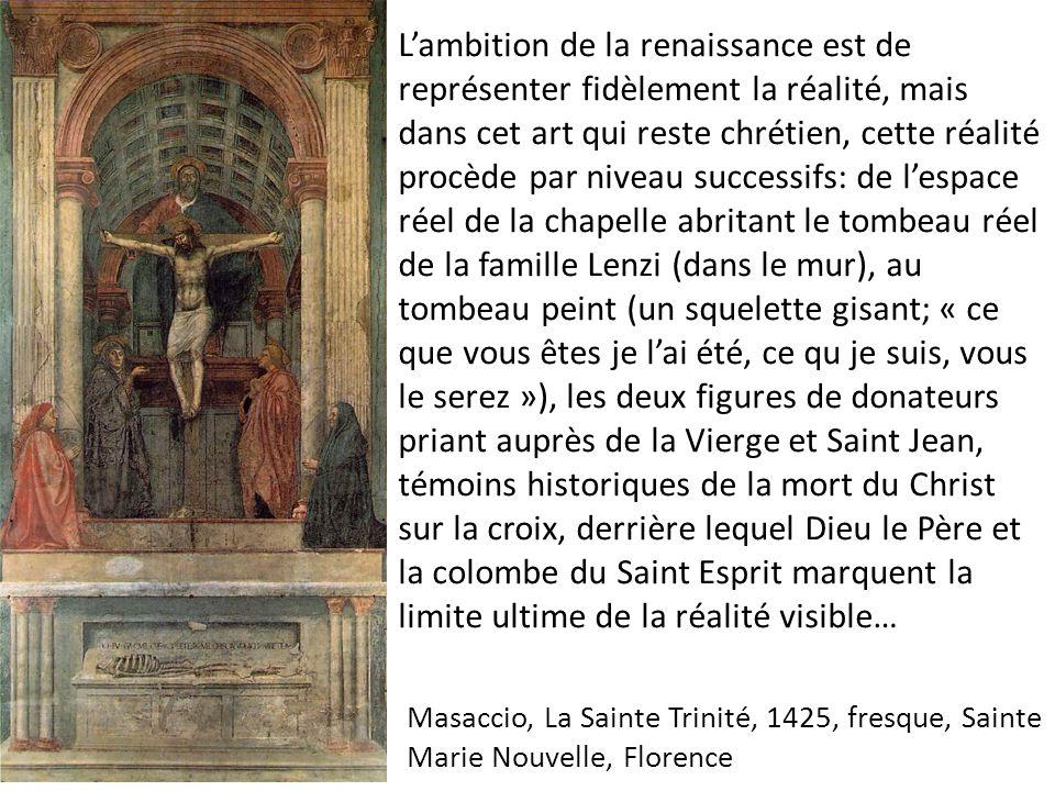 L'ambition de la renaissance est de représenter fidèlement la réalité, mais dans cet art qui reste chrétien, cette réalité procède par niveau successifs: de l'espace réel de la chapelle abritant le tombeau réel de la famille Lenzi (dans le mur), au tombeau peint (un squelette gisant; « ce que vous êtes je l'ai été, ce qu je suis, vous le serez »), les deux figures de donateurs priant auprès de la Vierge et Saint Jean, témoins historiques de la mort du Christ sur la croix, derrière lequel Dieu le Père et la colombe du Saint Esprit marquent la limite ultime de la réalité visible…