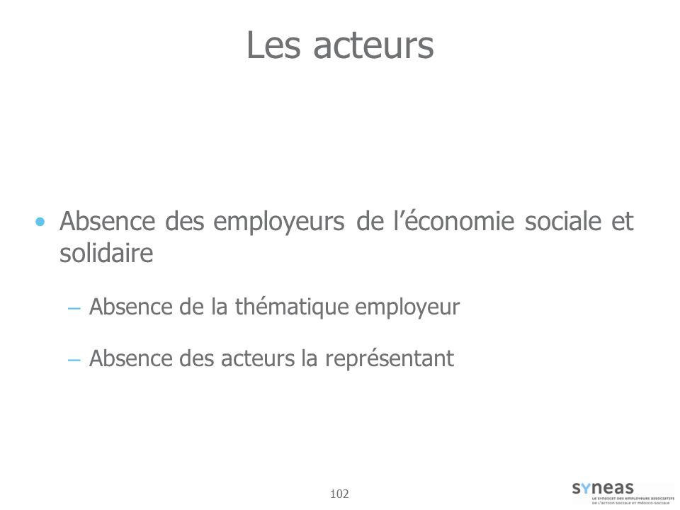 Les acteurs Absence des employeurs de l'économie sociale et solidaire