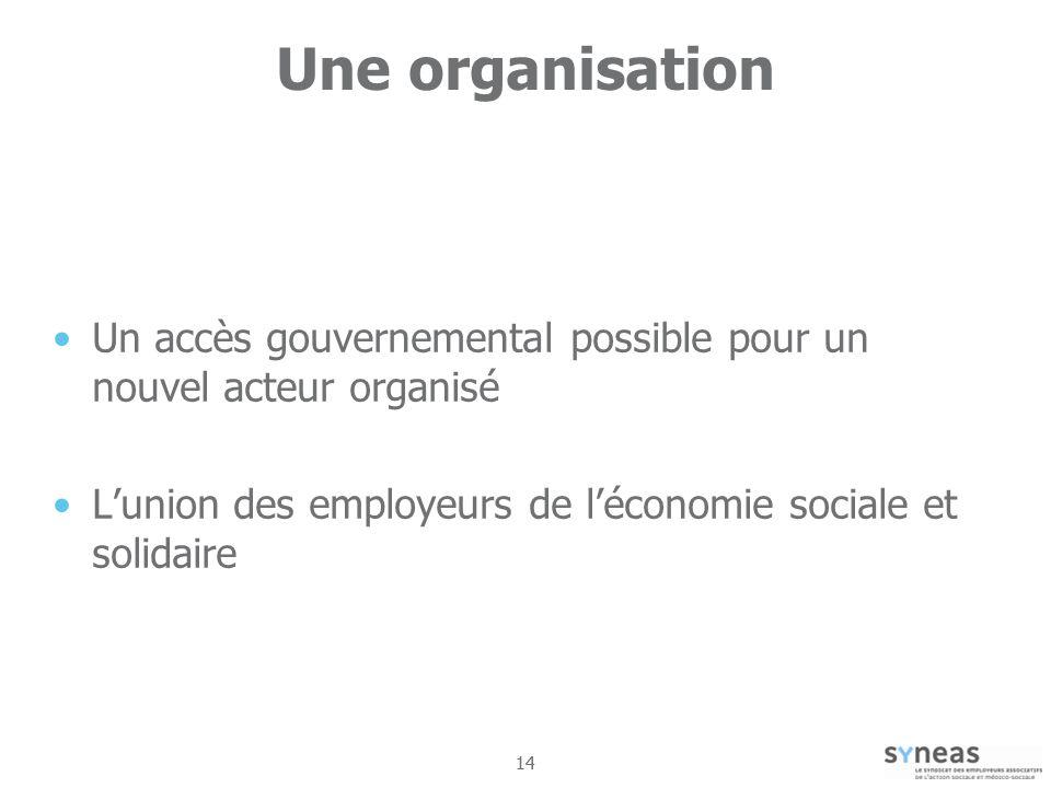 Une organisation Un accès gouvernemental possible pour un nouvel acteur organisé. L'union des employeurs de l'économie sociale et solidaire.