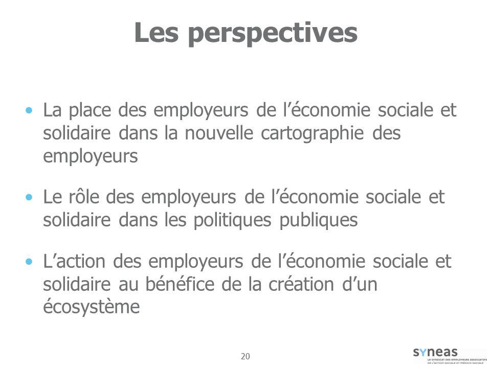 Les perspectives La place des employeurs de l'économie sociale et solidaire dans la nouvelle cartographie des employeurs.