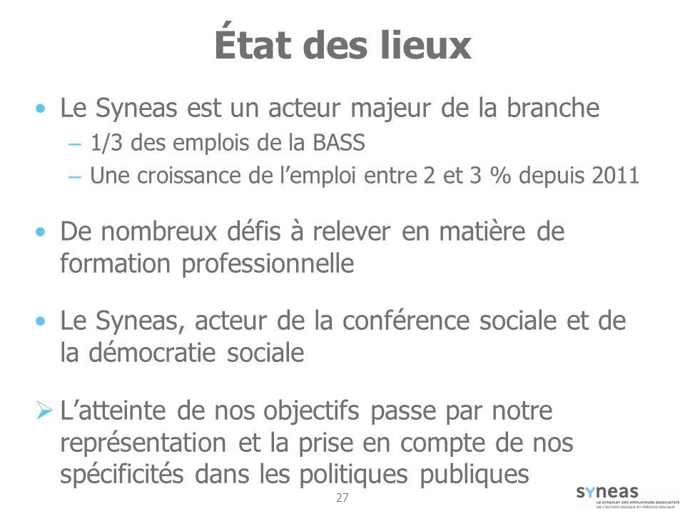 État des lieux Le Syneas est un acteur majeur de la branche
