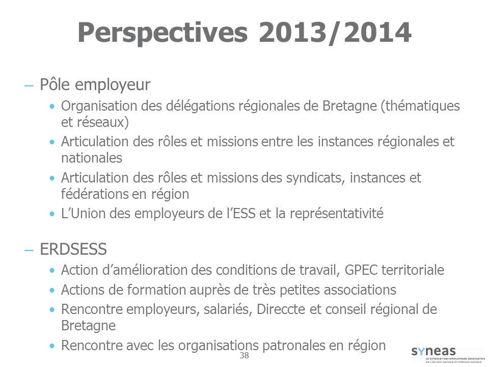 Perspectives 2013/2014 Pôle employeur ERDSESS