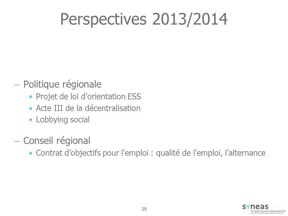 Perspectives 2013/2014 Politique régionale Conseil régional