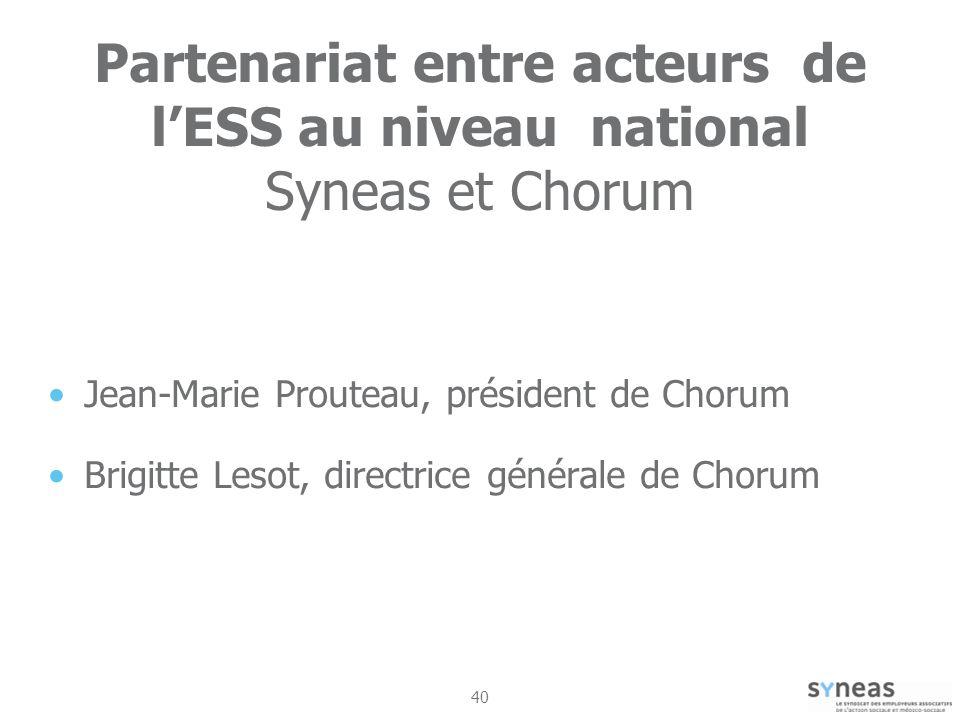 Partenariat entre acteurs de l'ESS au niveau national Syneas et Chorum