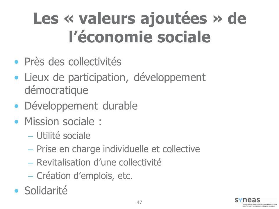Les « valeurs ajoutées » de l'économie sociale